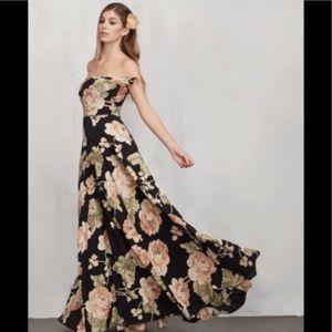 Reformation Black Floral Maxi Isadora Dress